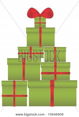 Xmas tree made of gifts