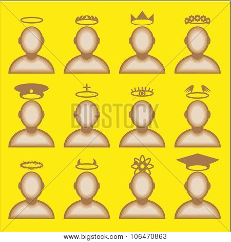 Male avatar profile icon set - head halos silhouette. Vector illustration poster