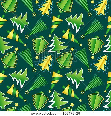 Christmas Tree Seamless Vector Pattern