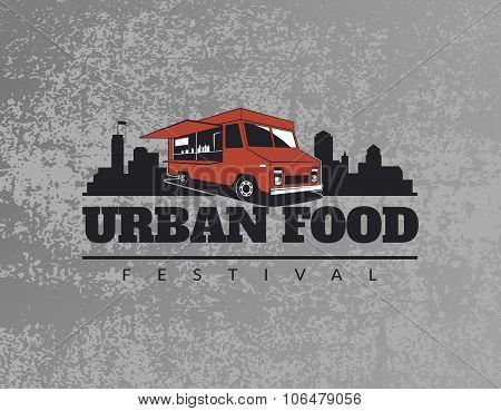 Food Truck Emblem On Grunge Grey Background.