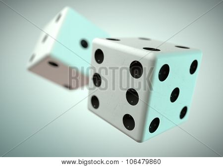 Two Die (dice) Captured Rolling In Mid Air. Throwing Dice In Casino, Board Game