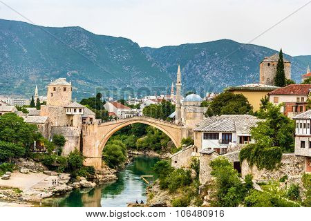 Stari Most (old Bridge) Of Mostar, A Unesco Heritage Site In Herzegovina