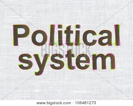 Political concept: CMYK Political System on linen fabric texture background poster