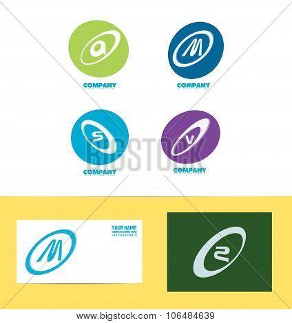 Flat Letter Set Icon Colors