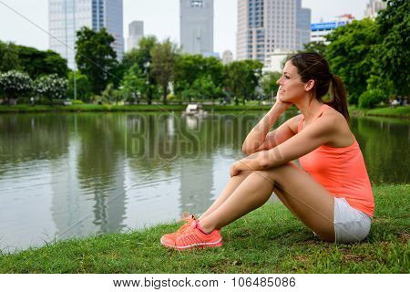 Pensive Sporty Woman Taking A Workout Rest
