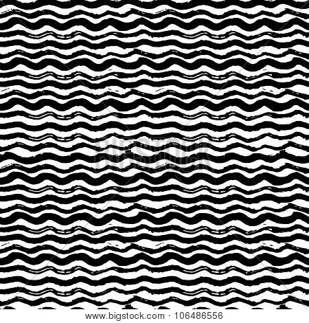 Waves - hand drawn marker and ink seamless pattern. Black scratchy texture with bold wavy lines.