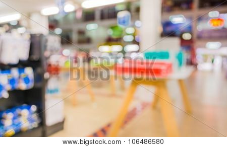 Blur Image Of Eletronic Department Store With Bokeh