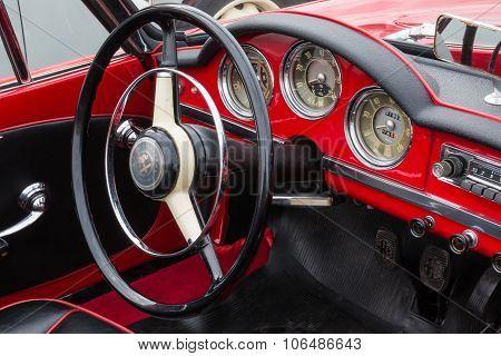 Retro Vintage Alfa Romeo Giulietta Car Driver's Seat And Dashboard