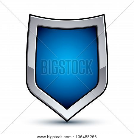Heraldic Vector Blue Emblem With Silver Outline, 3D Conceptual Defense Geometric Badge Isolated