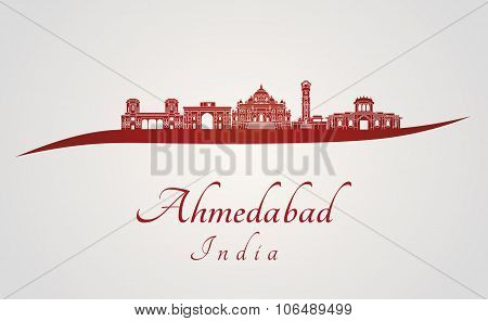 Ahmedabad Skyline In Red