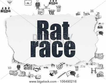 Business concept: Rat Race on Torn Paper background