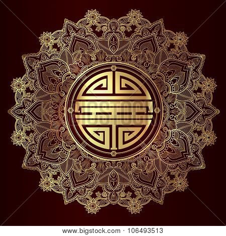 Chinese longevity good luck Mandala.