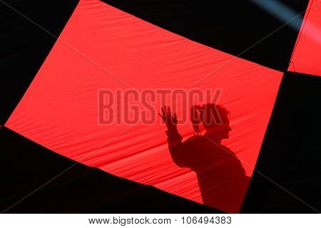 Silhoutte Through A Hot Air Balloon