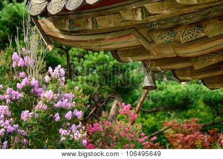 wind chime (called Punggyeong in Korean) under the eaves in a buddhist temple in Korea. poster
