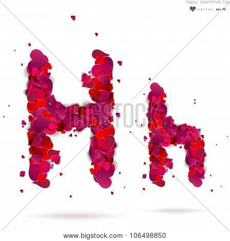 Letter H made from hearts. Love alphabet