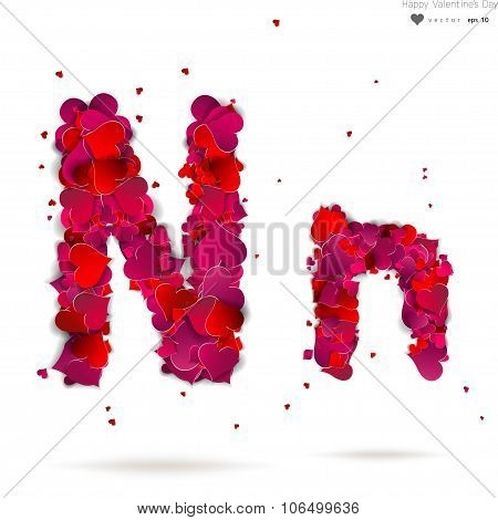 Letter N made from hearts. Love alphabet
