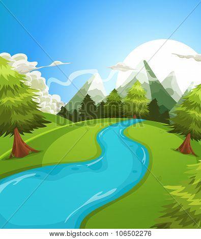 Cartoon Summer Mountains Landscape