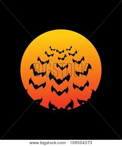 Bats And Bloodmoon. Terrible Night Sky. Illustration For Halloween. Flying Blood Suckers On Fly By O