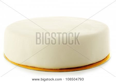 Cake with sugar paste, isolated on white poster