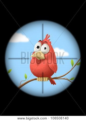 Illustration - Little bird at gunpoint