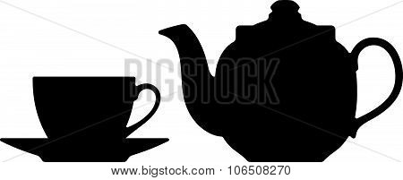 Teapot and cup. Vector silhouettes on a white background.