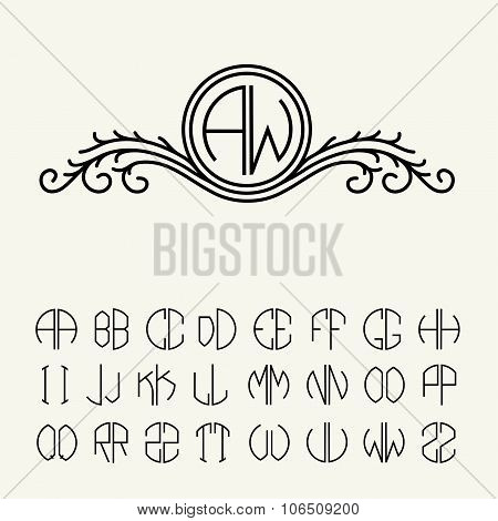 Set  template letters to create monograms of two letters in scribed in a circle. Elegant line art lo