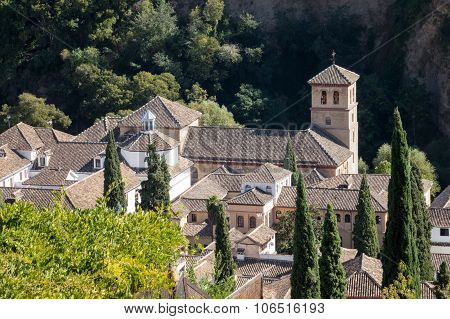 View Of Old Church In Granada  In Spain