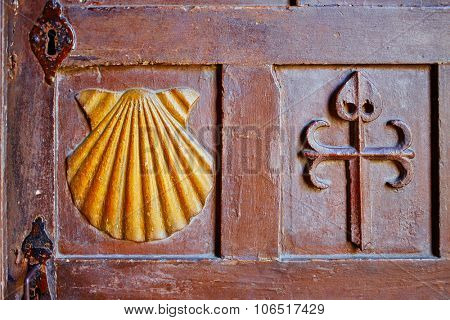 Santiago de Compostela end of Saint James Way carved wood sign in Galicia Spain