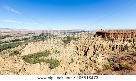 Overlook Over Rugged Eroded Valley Near Guadix Spain