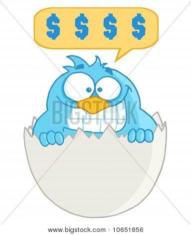 Blue Cartoon Bird With Cell Phone