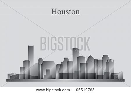 Houston City Skyline Silhouette In Grayscale