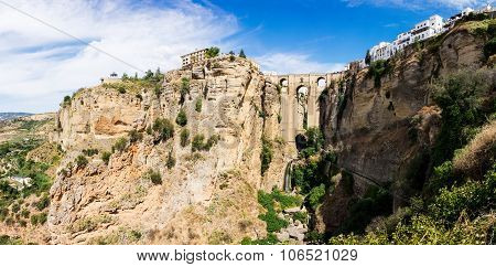 View Down The Steep Rockface To Valley In Ronda