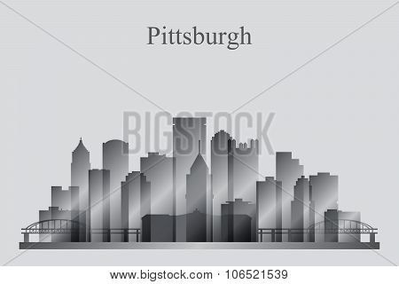 Pittsburgh City Skyline Silhouette In Grayscale