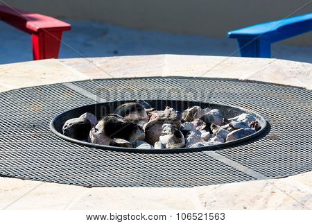 Modern Firepit With White Hot Coals