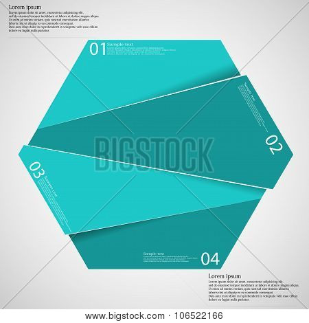 Hexagon illustration infographic template which is randomly divided to four blue parts. Each part has space for own text according customer needs. Background is light. poster