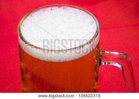 Golden Lager Or Beer In Traditional Tankard