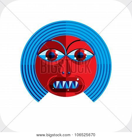 Vector illustration of bizarre modernistic avatar cubism theme picture. Expression on a person's face. poster