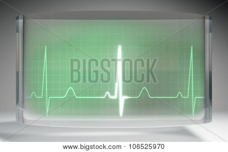 Futuristic Ekg Medical Liquid Crystal Display Green