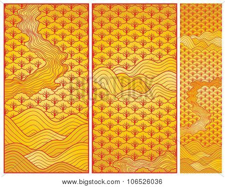 Chinese new year art background three parts in vector illustration.