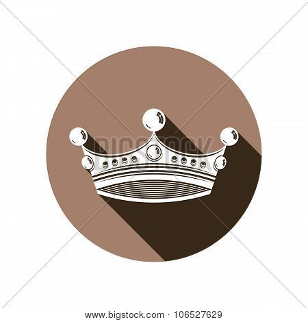 Royal design element regal icon. Stylish majestic 3d crown luxury coronet illustration. Imperial three-dimensional symbol. poster