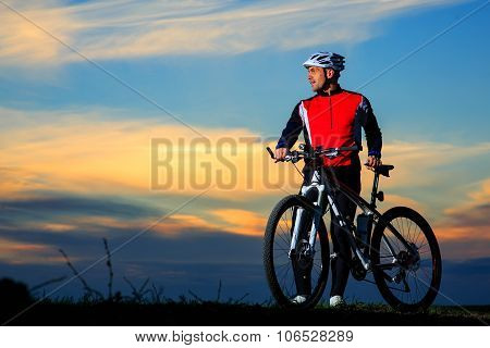 Cyclist Riding the Bike on the Beautiful Autumn Scene poster