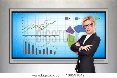 business woman standing near plasma tv with stock chart poster