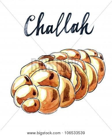 Jewish braided challah (loaf) for Shabbat - Illustration poster