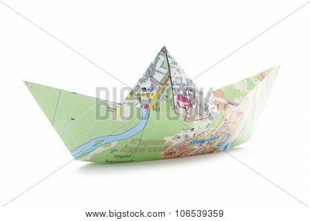 Map Origami Boat