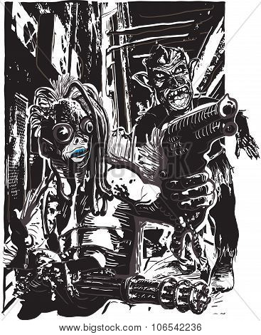 Monster With The Guns And Zombie - Freehand, Vector