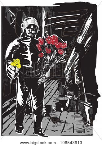 Policeman With Flowers, Gentle Hero On The Street - Freehand, Vector