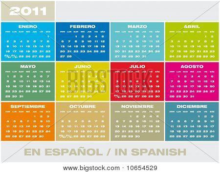 Vector Calendar 2011 In Spanish