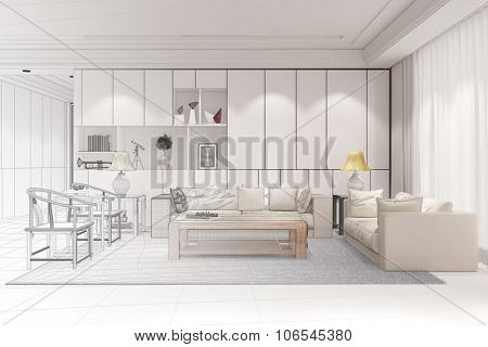 Interior designer doing CAD room planning for a modern living room (3D Rendering)