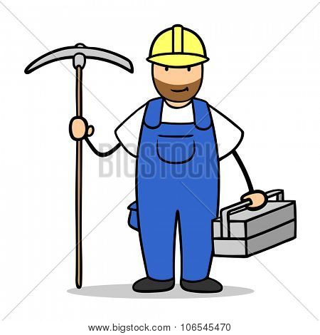 Construction worker with helmet and blue collar suit