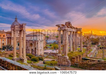 Artistic Surreal Edit Of A Cloudy Dawn Over The Dark Roman Forum In Rome, Italy